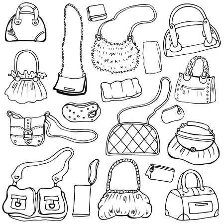 clothing shop: Collection design women s handbags  Hand drawn isolated  Set 1