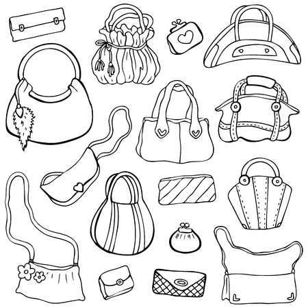 Collection design women s handbags  Hand drawn isolated  Set 3 Stock Vector - 17712386