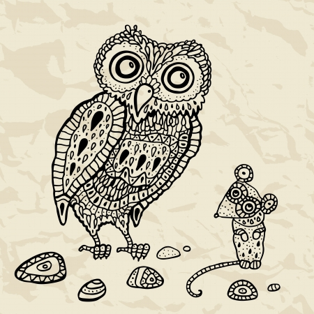 Decorative Owl and  Mouse  Funny cartoon illustration  Vector