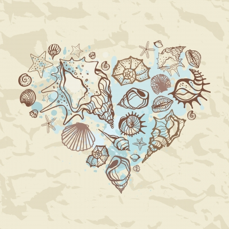 Heart of shells  Hand drawn illustration Vector