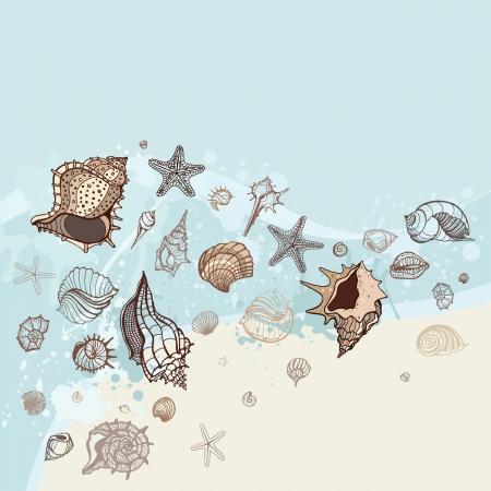 cozza: Disegnato mare sfondo a mano illustrazione