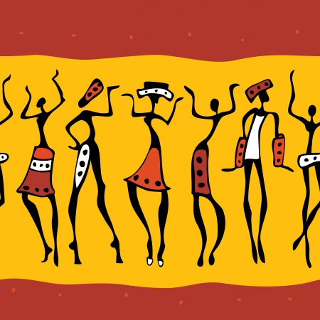 primitive: Figures of african dancers   Seamless Vector  Illustration