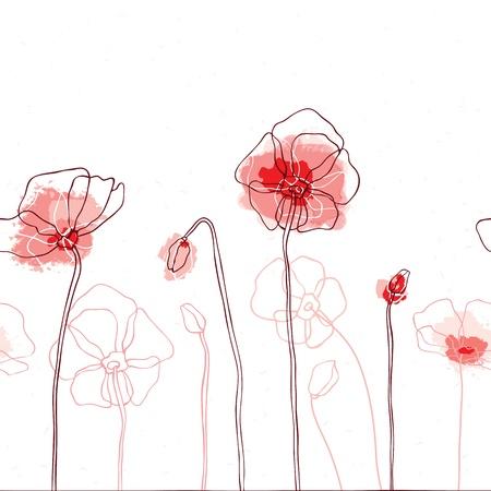 dessin noir blanc: Coquelicots rouges sur fond illustration vectorielle blanc sans soudure Illustration