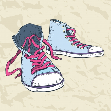 colorful grunge: Sport shoes  Sneakers  Hand drawn Vector illustration