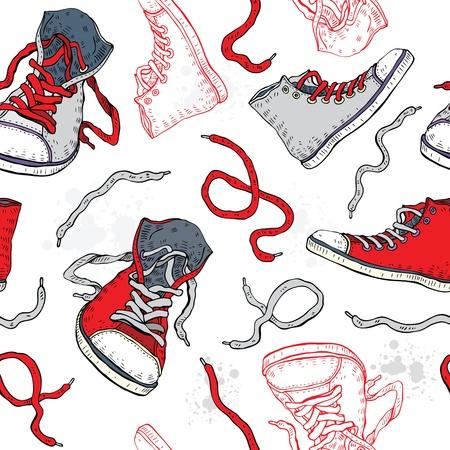 chaussure: Chaussures de sport Chaussures de sport Main dessin�e vecteur de fond sans soudure