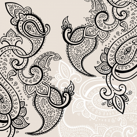 fashion sketch: Paisley background  Hand Drawn ornament   Vector illustration