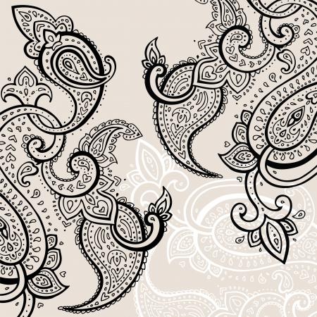 paisley: Paisley sfondo disegnato a mano ornamento illustrazione vettoriale Vettoriali