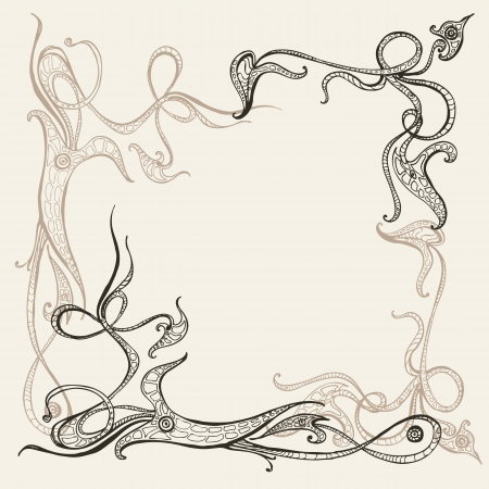 Hand drawn background with ornamental frame  Vector illustration Vector