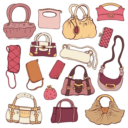 Collection women s handbags  Hand drawn vector isolated  Vector