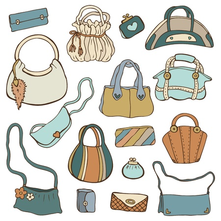 Collection women s handbags  Hand drawn isolated  Vector