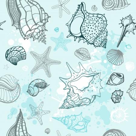 Grange Sea background Hand drawn vector illustration