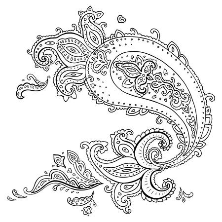 Geïsoleerd Paisley Etnische ornament Vector illustratie