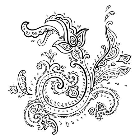 disegno cachemire: Paisley Etnica ornamento Vector illustration isolato