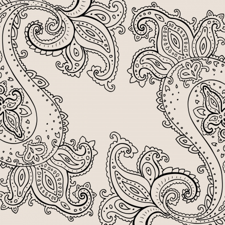 mehndi: Paisley background  Hand Drawn ornament   Vector illustration