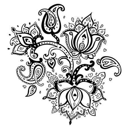 mehndi: Paisley ornament   Lotus flower  Vector illustration isolated