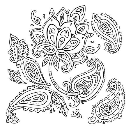 Paisley ornament Lotus flower Vector illustration isolated Vetores