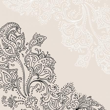 disegno cachemire: Paisley sfondo disegnato a mano ornamento illustrazione vettoriale Vettoriali