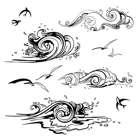 seabird: Sea waves set  Hand drawn vector illustration  Design element