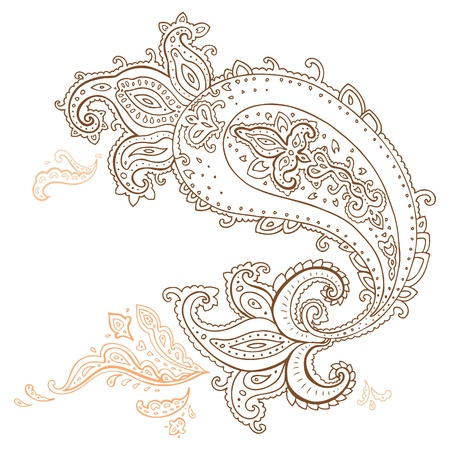 mhendi: Paisley  Ethnic ornament illustration isolated
