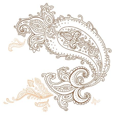 disegno cachemire: Paisley Etnica ornamento illustrazione isolato