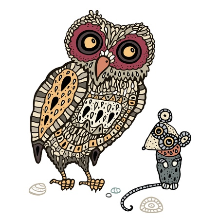 hand drawn wings: Decorative Owl and  Mouse  Funny cartoon illustration