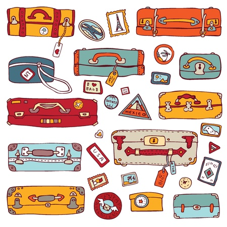packing suitcase: Collection of vintage suitcases  Travel Illustration isolated