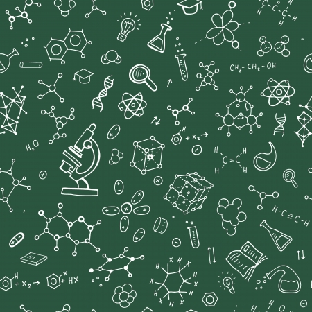 chemistry formula: Chemistry hand draw background  Seamless Vector illustration Illustration