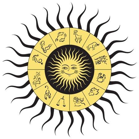 signes du zodiaque: Horoscope cercle Zodiac étoiles signe d'illustration isolée
