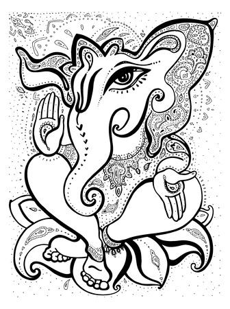 hindu god: Dios hind? Ganesha mano Ilustraci?n vectorial dibujado