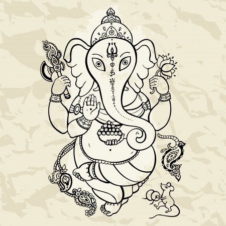 Hindu God Ganesha  Vector hand drawn illustration  Stock Vector - 21426689