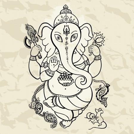 indian yoga: Ind? Dio Ganesha Vector mano trafilati illustrazione