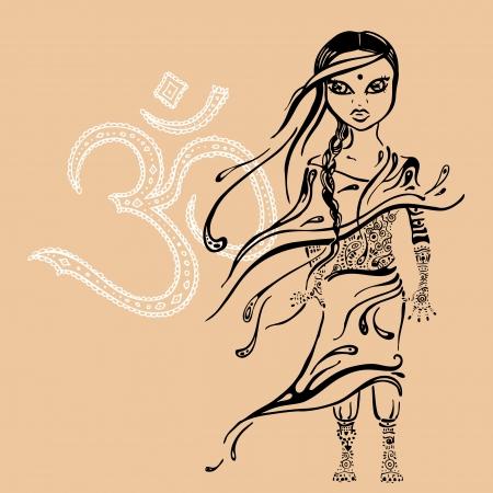 pequeño hermoso indian girl Vector ilustración dibujados a mano Ilustración de vector