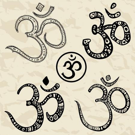 indian yoga: Ohm Om Aum simbolo vettoriale mano disegnato illustrazione