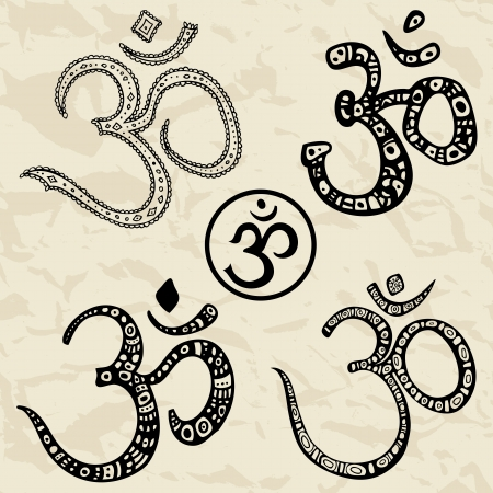 abstract symbolism: Ohm  Om Aum Symbol   Vector hand drawn illustration