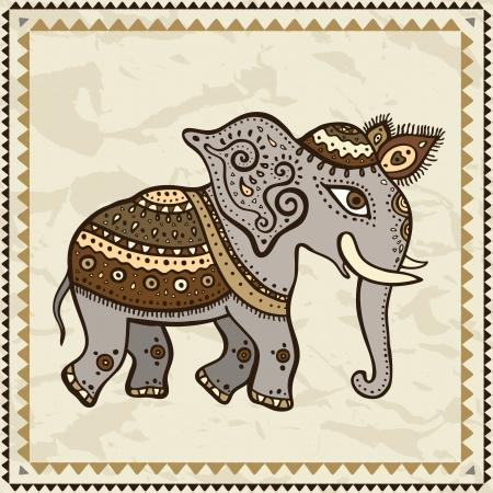 indian elephant: Ethnic elephant  Hand drawn vector  illustration  Crumpled paper background  Indian style