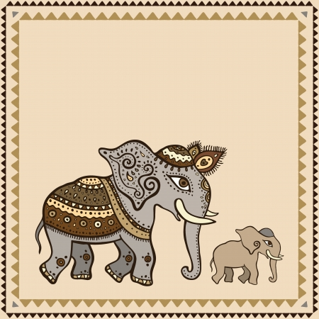 Ethnic elephant  Hand drawn vector  illustration  Crumpled paper background  Indian style  Vector