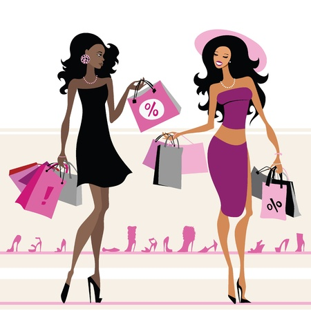 single woman: Women with shopping bags. Vector illustration