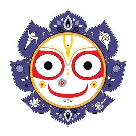 indian god: Jagannath Indian God of the Universe Illustration