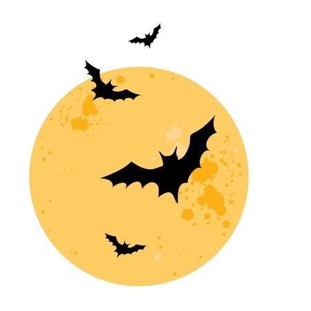 Bats Yellow moon  Halloween Vector illustration Isolated over white  Vector