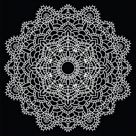 Vintage handmade knitted doily. Round lace pattern. Vector illustration.