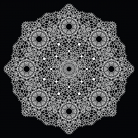 lace pattern:  Vintage handmade knitted doily. Round lace pattern. Vector illustration.