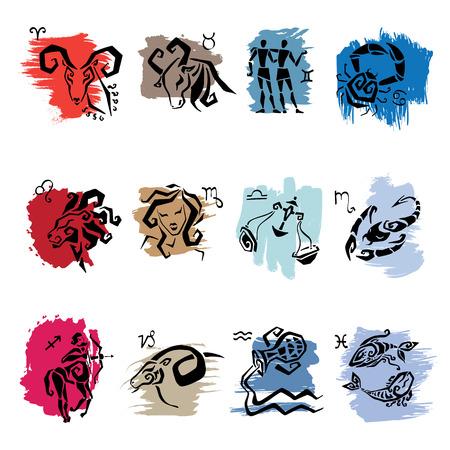 황소 자리: 별자리 운세. 조디악 표지판 12 상징입니다. 일러스트