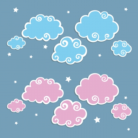 Blue Clouds with White Border  Vector Illustration Vector