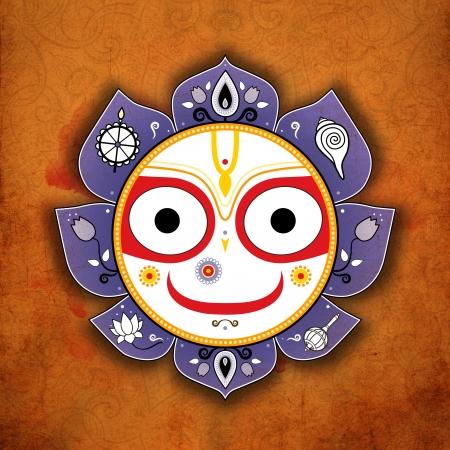 sri yantra: Jagannath. Indian God of the Universe. Balarama. Stock Photo