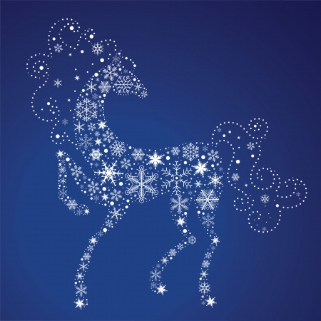 Horse of Snowflakes  Vector background  New Year 2014 Vector