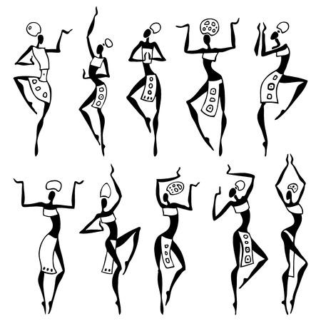 Danzas mujer en la colección de vectores estilo étnico Ilustración de vector