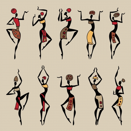 africans: Dancing woman in ethnic style  Vector collection