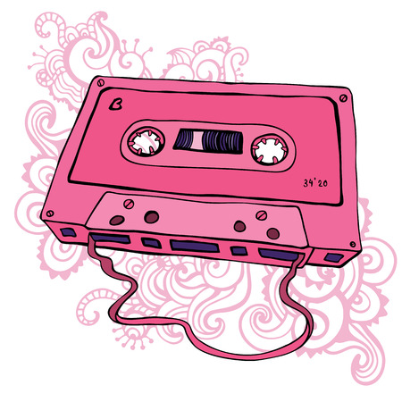 Pink Audio cassette.  Oldschool Vector illustration. Retro cassette tape. Vector