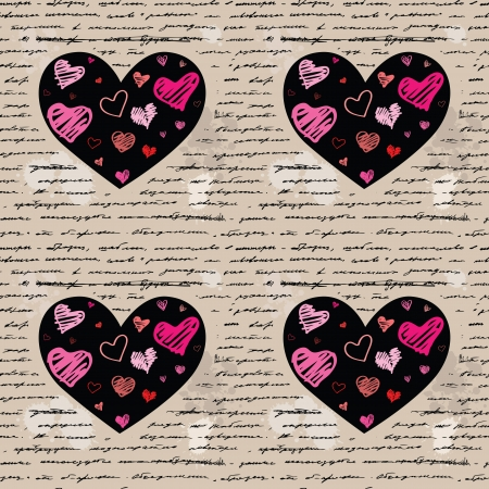 Heart design elements. Love. Handwriting vector background. Vector