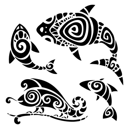 shark: Polynesian tattoo  Tribal pattern set  Vector illustration